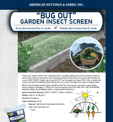 Bug Out Garden Insect Screen Catalog