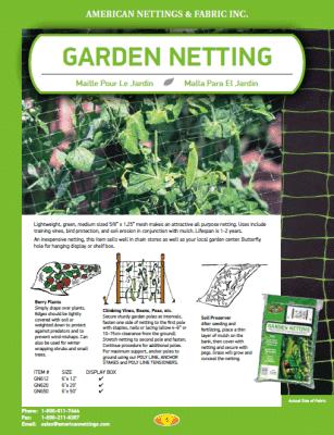 Garden Netting Odds Ends AmericanNettingscom 1 800 811 7444